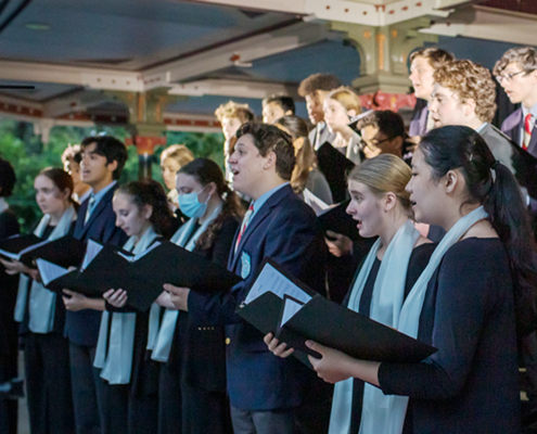 Choristers performing